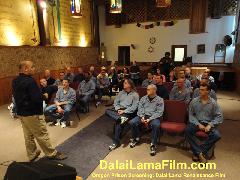 Oregon Prison Inmates speaking with Dalai Lama Renaissance Director Khashyar Darvich after a screening of the film in the prison.