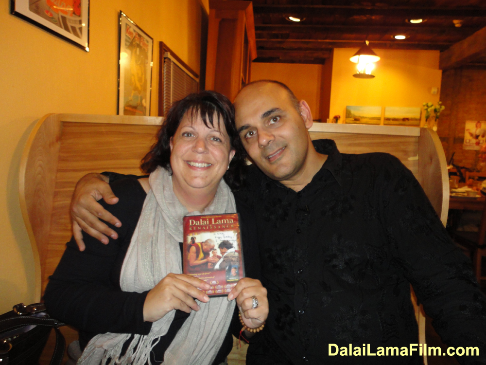 Producer-Director Khashyar Darvich with an audience member after a screening of the award-winning documentary film  'Dalai Lama Renaissance' (narrated by Harrison Ford')