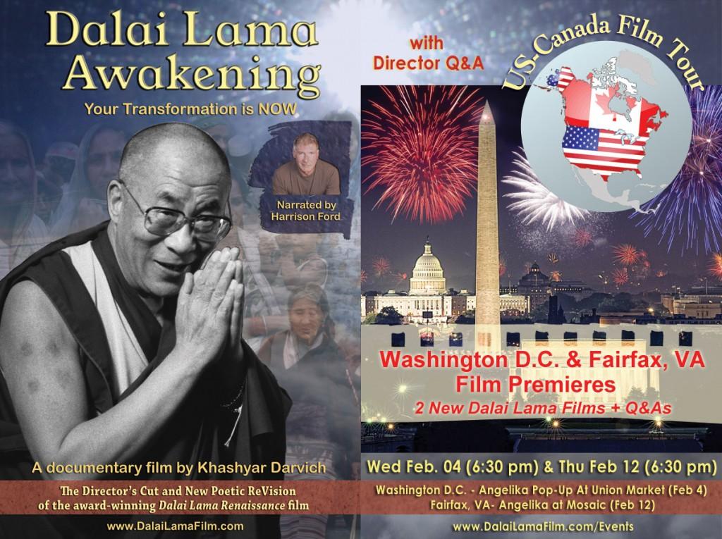Poster: Washington D.C. and Fairfax, Virginia Film Premiere of Dalai Lama Awakening Film
