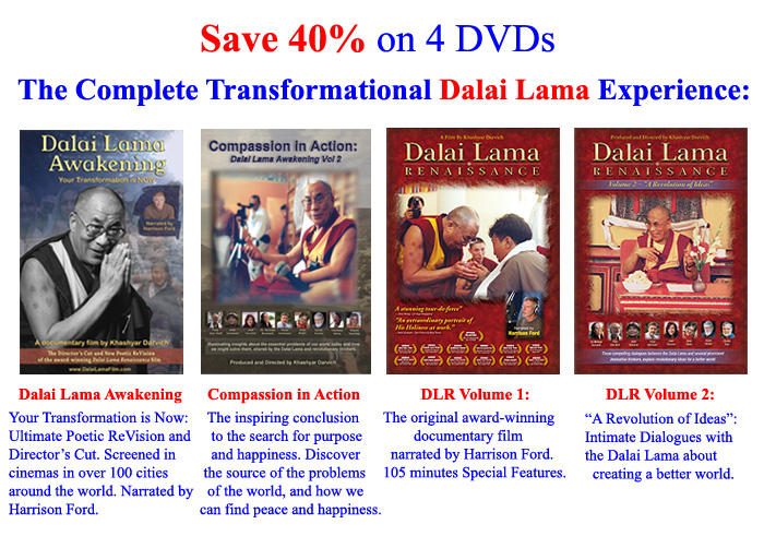 4 Dalai Lama DVDs: Dalai Lama Awakening Documentary Film, Compassion in Action, Dalai Lama Renaissance, A Revolution of Ideas