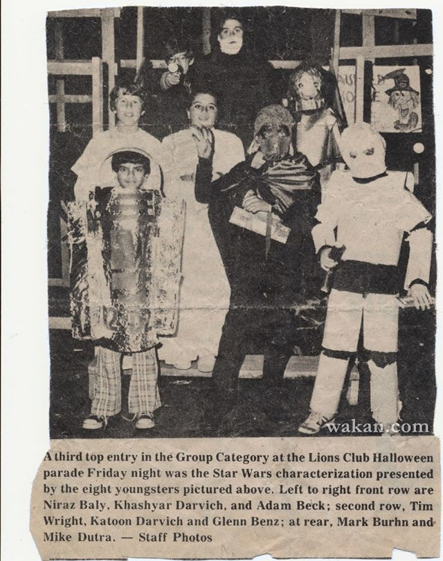 Star Wars Halloween costumes 1977 - Film Director Khashyar Darvich: Han Solo, Dark Vader, Luke Skywalker, Princess Leia, R2D2, C3PO