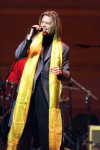 David Bowie on stage at the 2001 Tibet House Benefit Concert in NYC