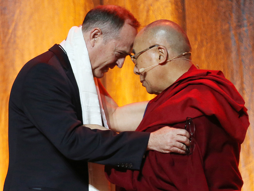 "H.H. the Dalai Lama with Anaheim, California Mayor Tom Tait. The City of Anaheim has adopted the name ""City of Kindness."""