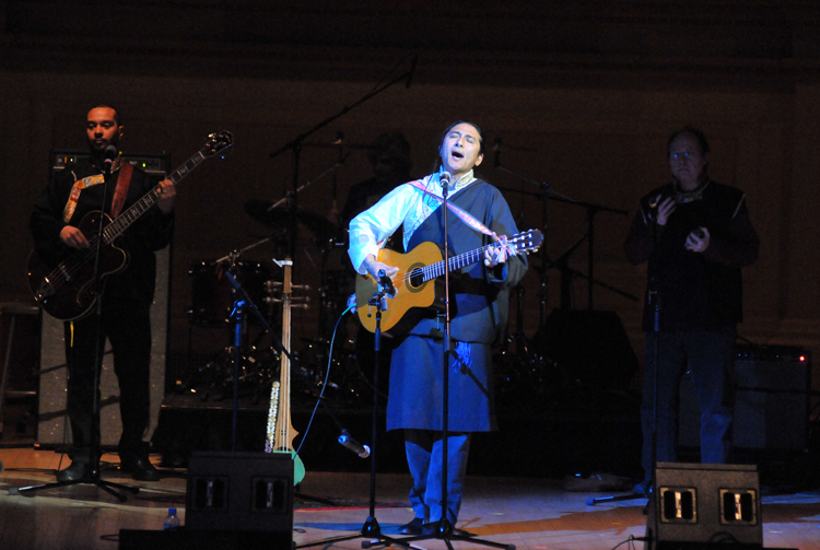 "Tibetan musician ""Techung"" performing at Carnegie Hall with composer Phillip Glass. Techung wrote and performed most of the Tibetan music in the documentary film ""Dalai Lama Renaissance"""