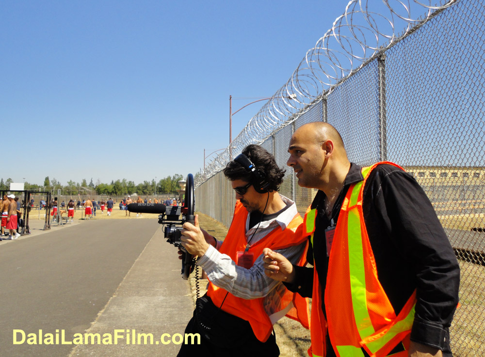 Dalai Lama Renaissance Director Khashyar Darvich (on right) with one of his camera crew during filming inside a prison in Oregon for a new documentary film about spiritual transformation in prisons.