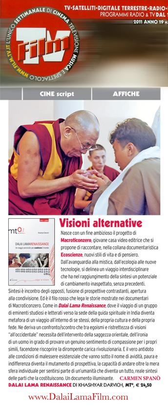 "Italian Magazine ""FilmTV"" review of the Dalai Lama Renaissance Documentary Film"