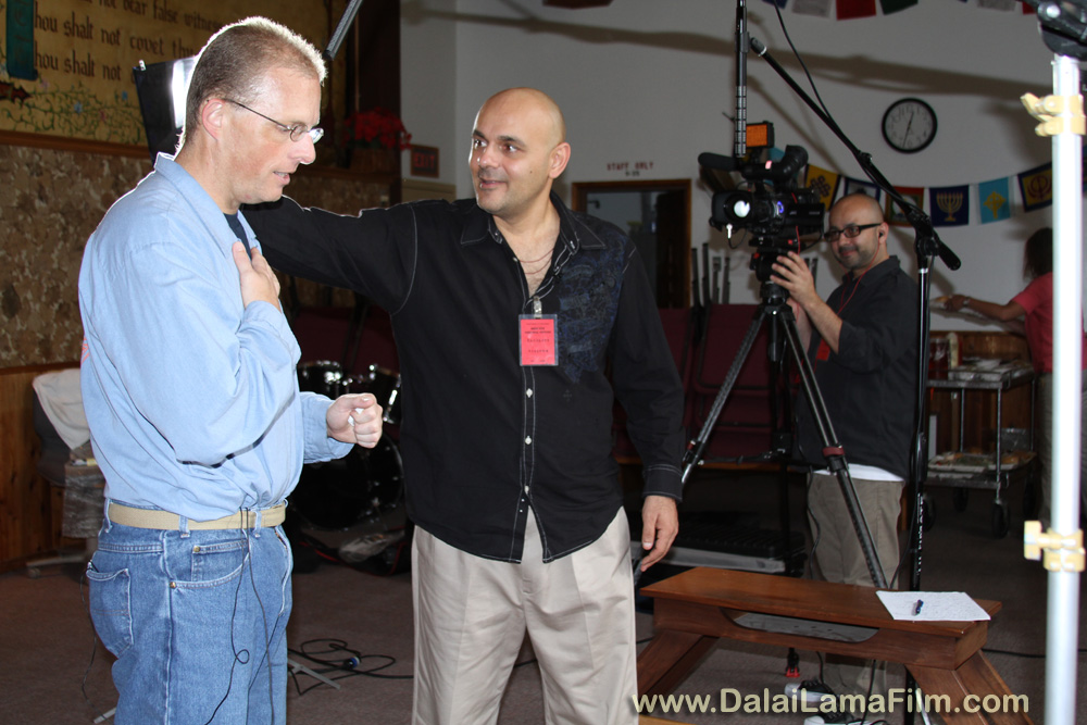 Dalai Lama Renaissance Documentary Film Director Khashyar Darvich speak with an inmate after an interview for his new film about personal and spiritual transformation within prison walls