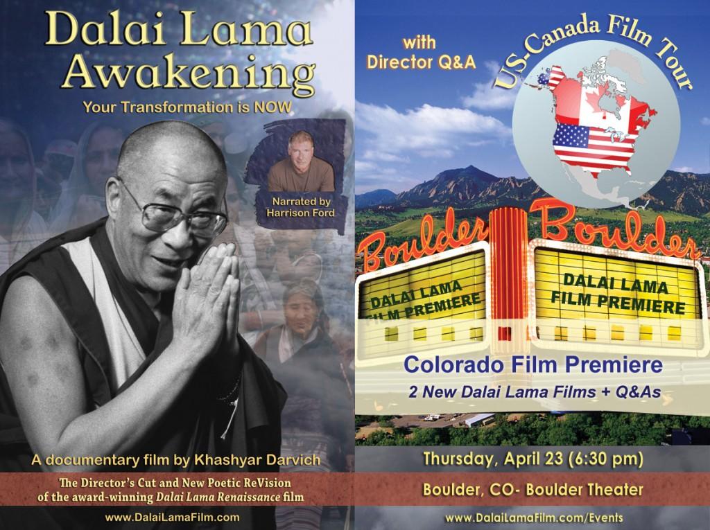 Boulder Colorado Film Premiere of 2 new Dalai Lama Films