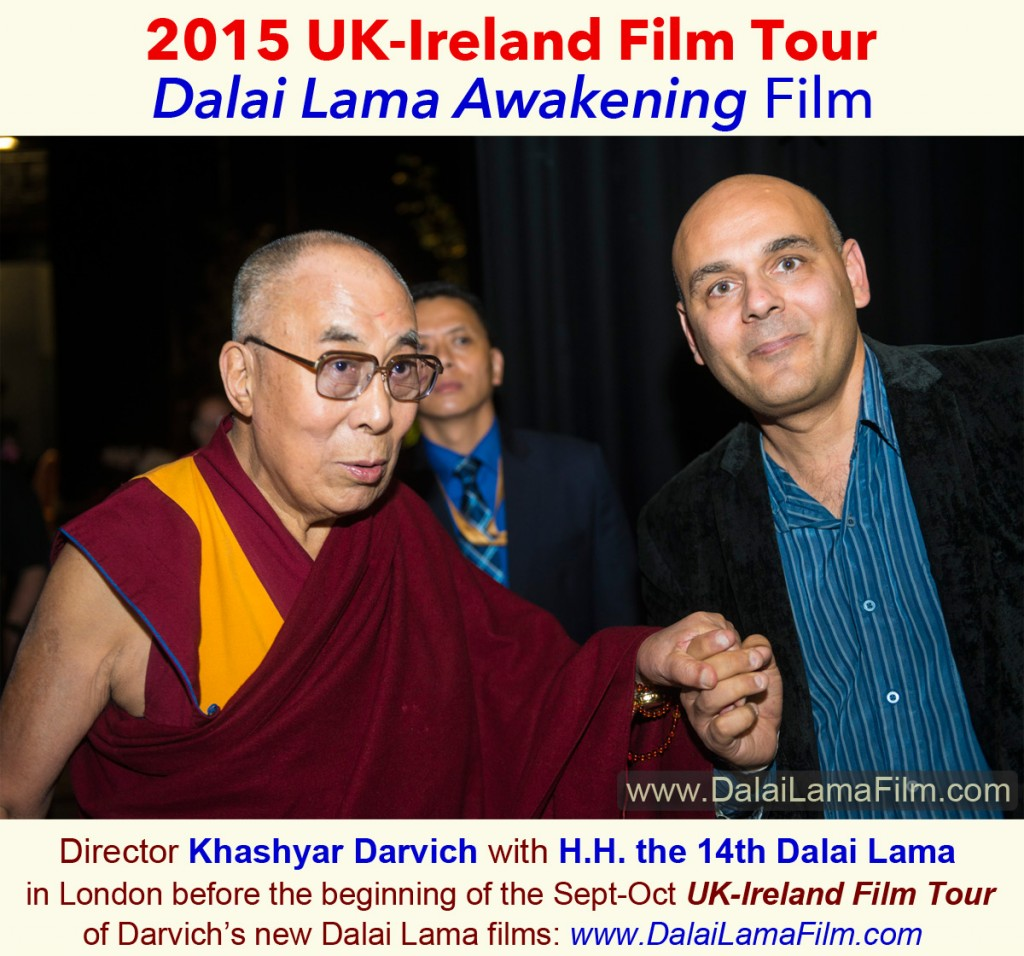 """In this photo, Director Khashyar Darvich meets H.H. the 14th Dalai Lama Sept 20 in London before the beginning of the Sept - Oct UK-Ireland film tour. After one of Darvich's interviews with the Dalai Lama, the Dalai Lama affirmed Darvich's and Wakan Films' motivations in producing films-- """"Yes I like your questions,"""" the Dalai Lama told Darvich, as the two were standing together talking after the interview. """"Certainly, your effort can make some contribution—there's no doubt."""""""