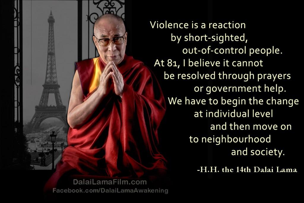 Dalai Lama Quote about Paris terrorist attacks