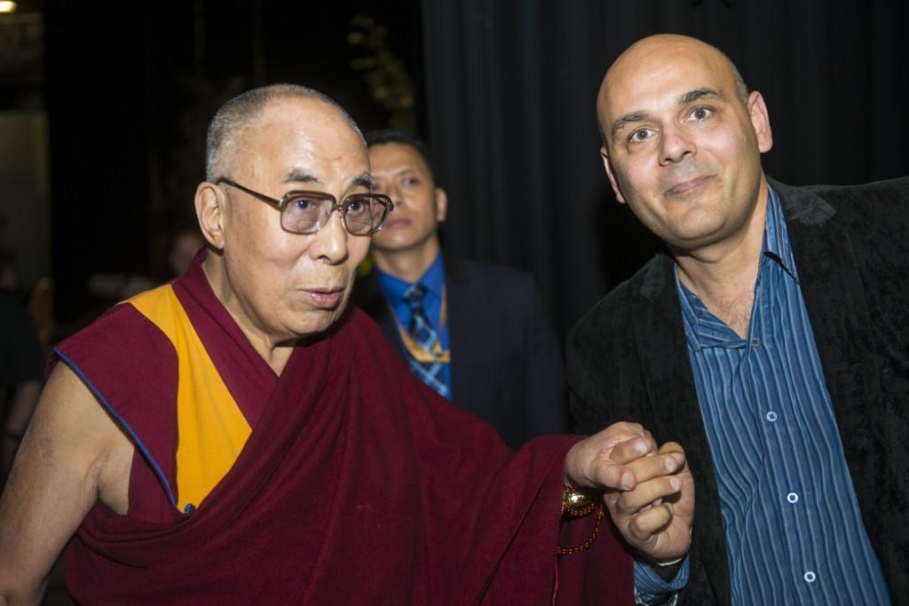 Dalai Lama and Director Khashyar Darvich of 'Dalai Lama Awakening' and 'Compassion in Action' films