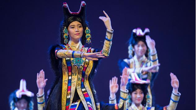 Chinese Performers performing a Chinese State's song and dance production about the 6th Dalai Lama